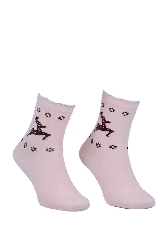 DÜNDAR - Dündar Geyikli Çiçekli Dikişsiz Çorap 2085 | Krem