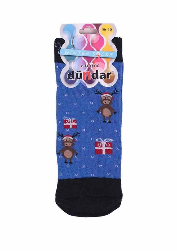 DÜNDAR - Dündar Geyikli Havlu Soket Çorap 009 | Mavi