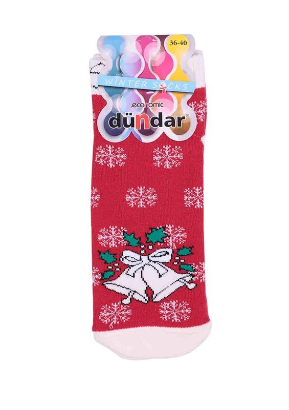 DÜNDAR - Dündar Kar Tanesi Desenli Havlu Soket Çorap 009 | Kırmızı