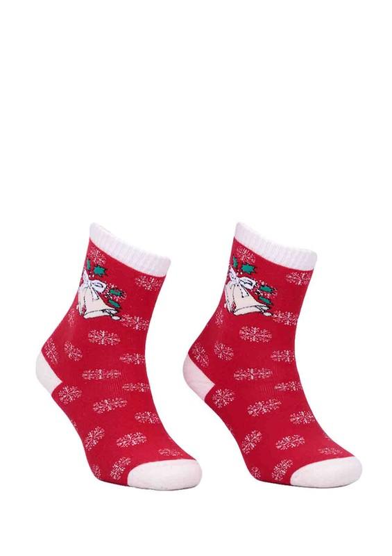 DÜNDAR - Dündar Çanlı Desenli Kırmızı Çorap 012 | Kırmızı