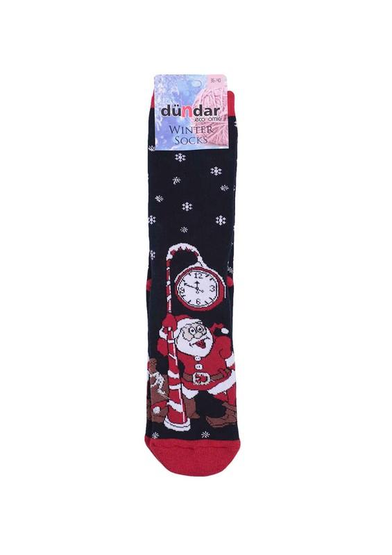DÜNDAR - Dündar Noel Baba Desenli Havlu Çorap 504   Siyah