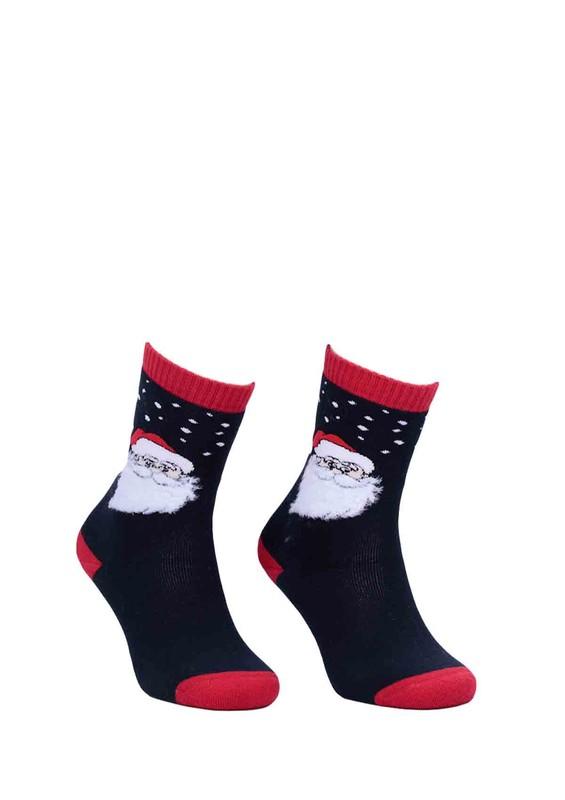 DÜNDAR - Dündar Noel Desenli Baskılı Dikişsiz Çorap 014 | Lacivert