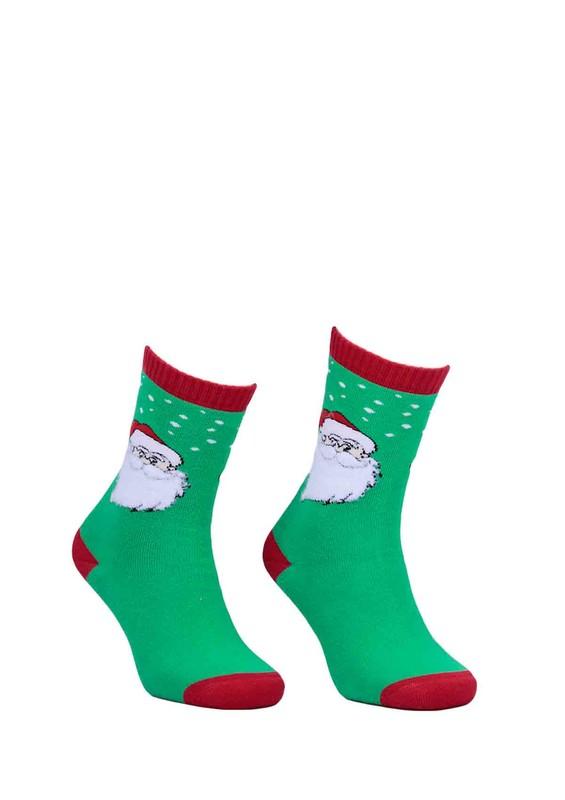 DÜNDAR - Dündar Noel Desenli Baskılı Dikişsiz Çorap 014 | Yeşil