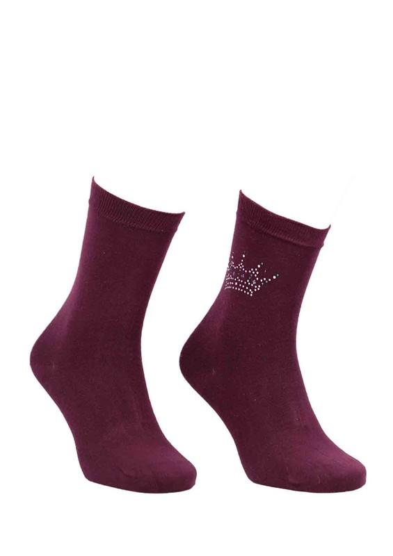 DÜNDAR - Dündar Taç Desenli Çorap 8508 | Bordo