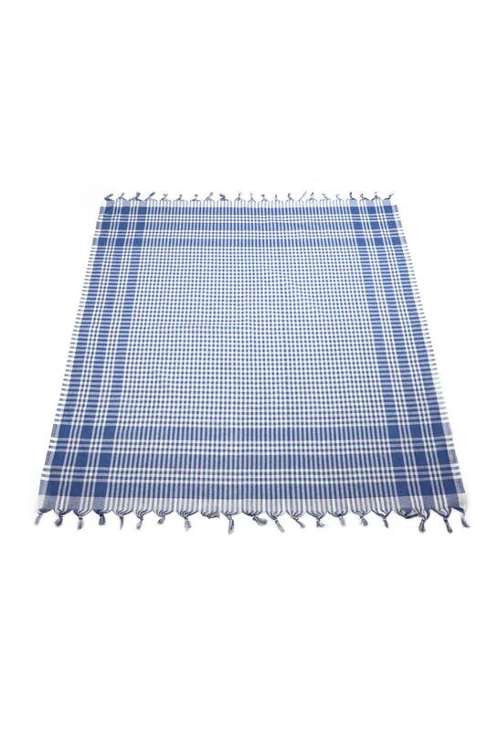 SİMİSSO - Ekoseli Sofra Bezi 160x160 cm | Mavi