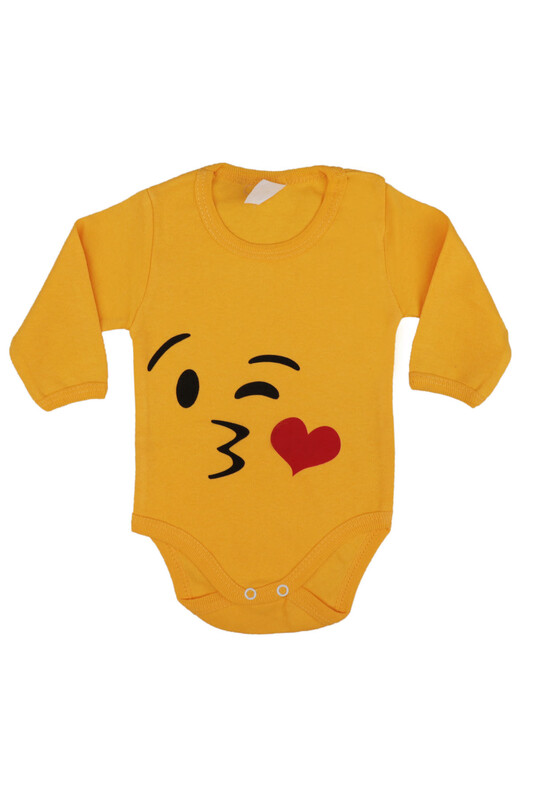 SİMİSSO - Emoji Baskılı Uzun Kollu Zıbın 003 | Sarı