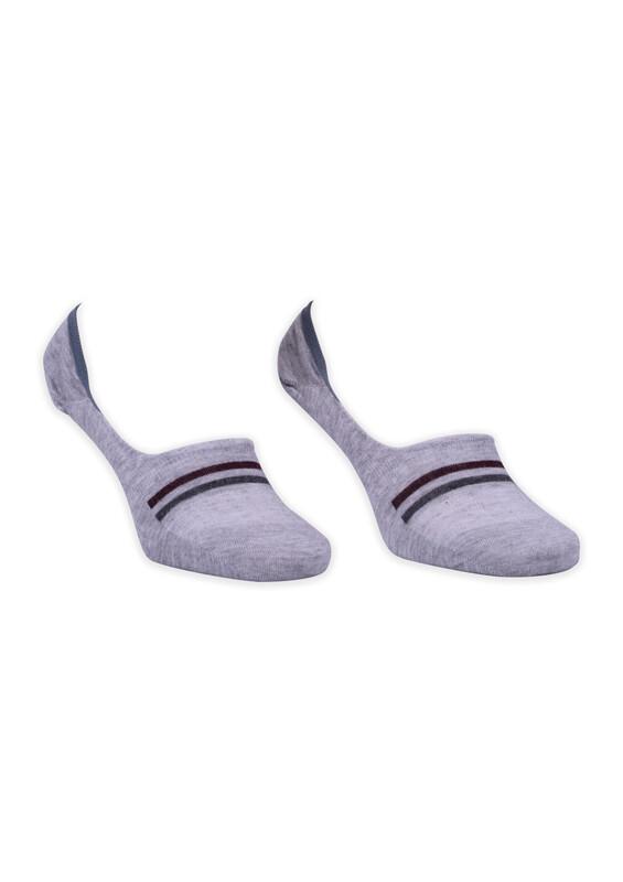 ROFF - Bamboo Çizgili Erkek Babet Çorabı | Gri