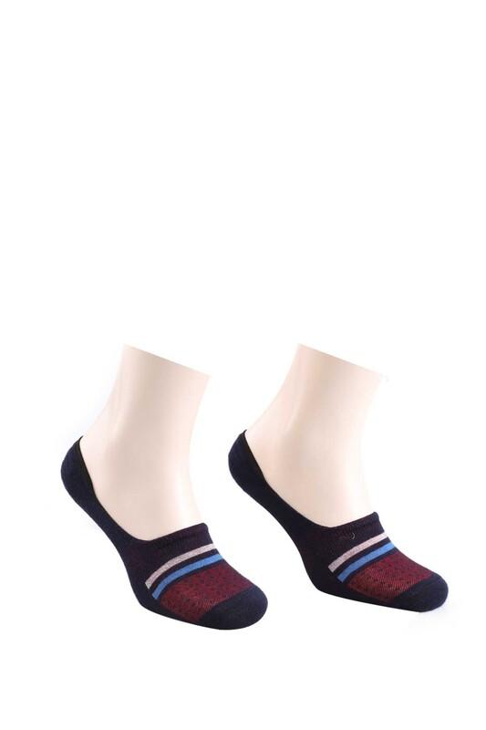 ROFF - Bamboo Çizgili Erkek Babet Çorabı | Lacivert