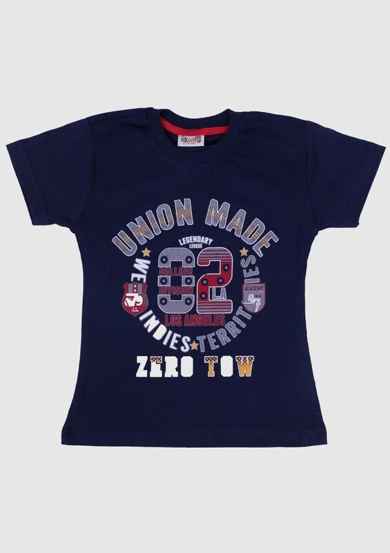 SİMİSSO - Baskılı Kısa Kollu Erkek Çocuk T-shirt | Lacivert