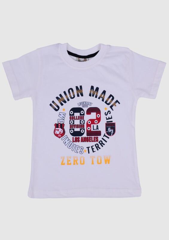 SİMİSSO - Baskılı Kısa Kollu Erkek Çocuk T-shirt | Ekru
