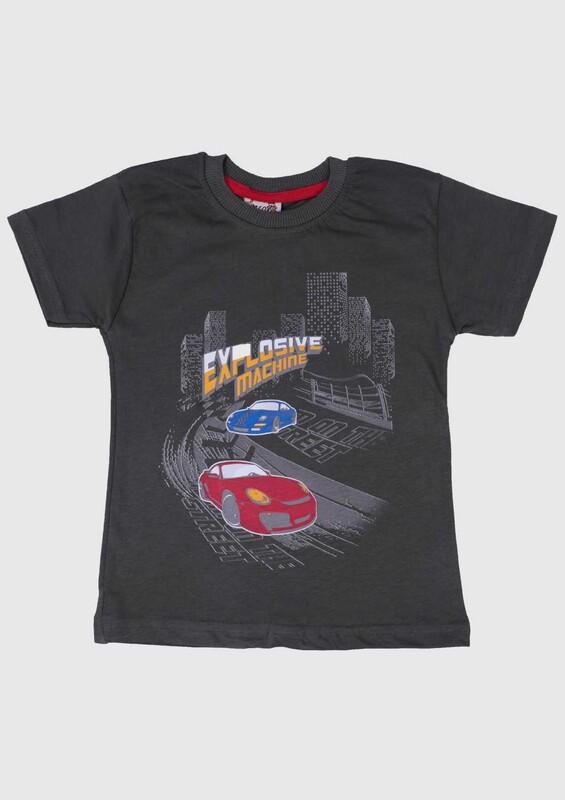 SİMİSSO - Baskılı Kısa Kollu Erkek Çocuk T-shirt 002 | Haki