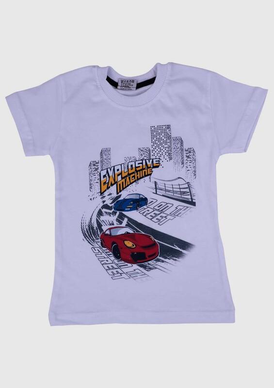 SİMİSSO - Baskılı Kısa Kollu Erkek Çocuk T-shirt 002 | Beyaz