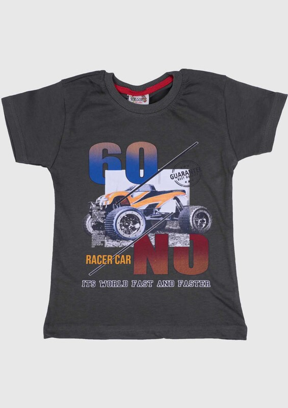 SİMİSSO - Baskılı Kısa Kollu Erkek Çocuk T-shirt 003 | Haki