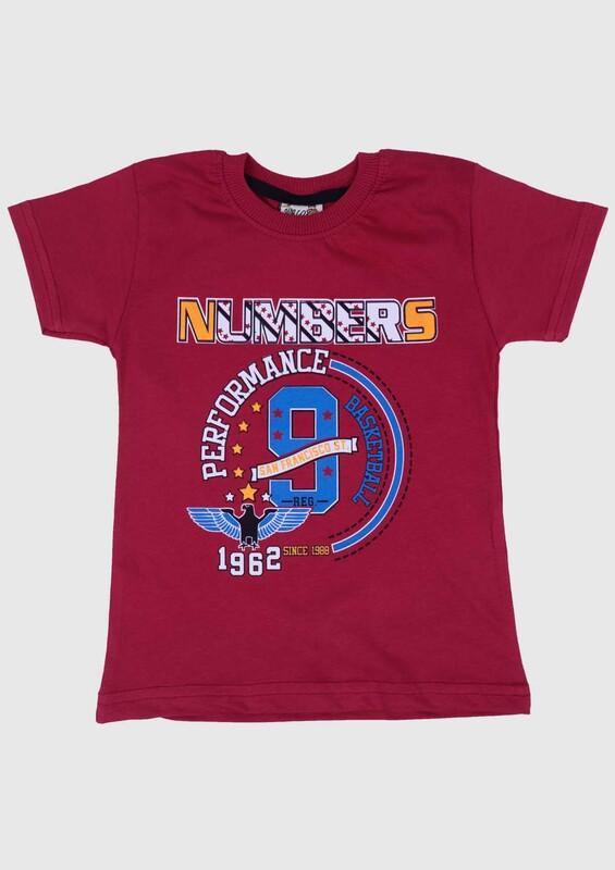 SİMİSSO - Baskılı Kısa Kollu Erkek Çocuk T-shirt 004 | Bordo