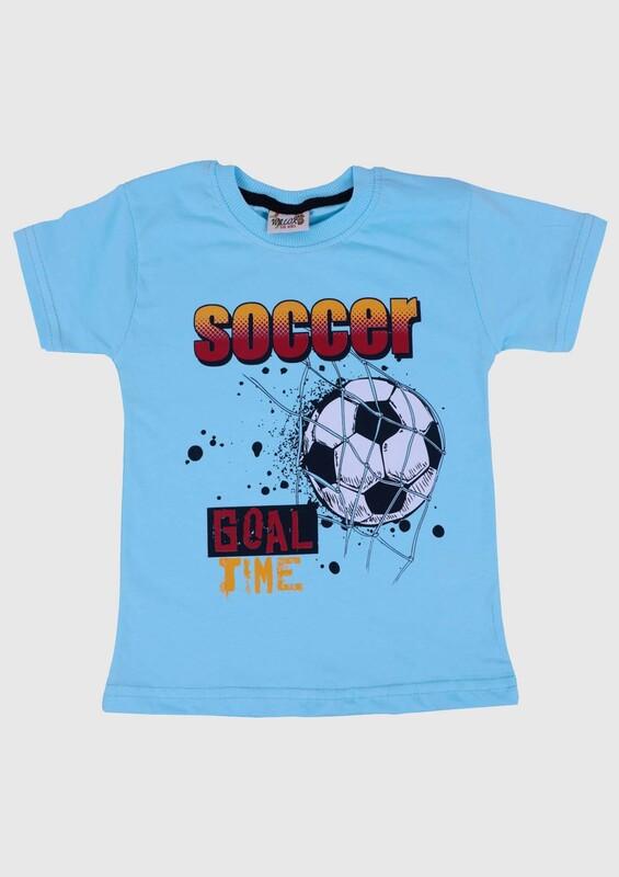 WALOX - Baskılı Kısa Kollu Erkek Çocuk T-shirt 007 | Turkuaz