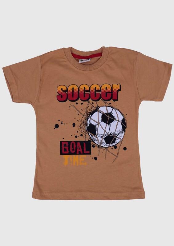 WALOX - Baskılı Kısa Kollu Erkek Çocuk T-shirt 007 | Hardal