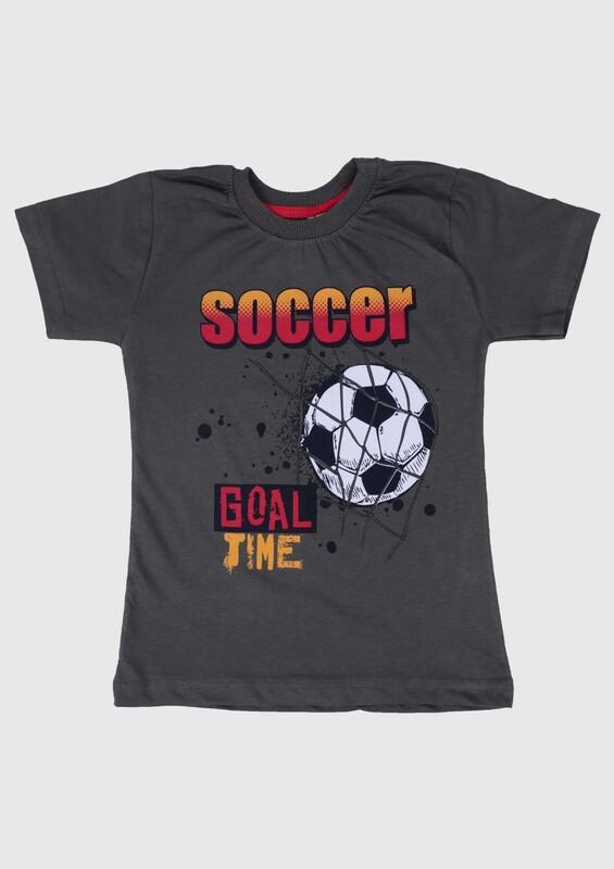 WALOX - Baskılı Kısa Kollu Erkek Çocuk T-shirt 007 | Haki
