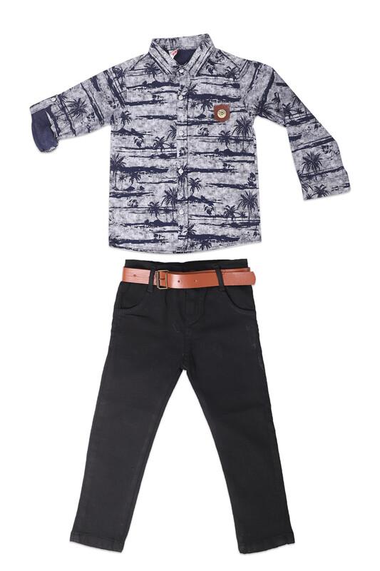 AYNUR BEBE - Desenli Gömlek ve Pantolon Erkek Çocuk 3'lü Takım | Lacivert