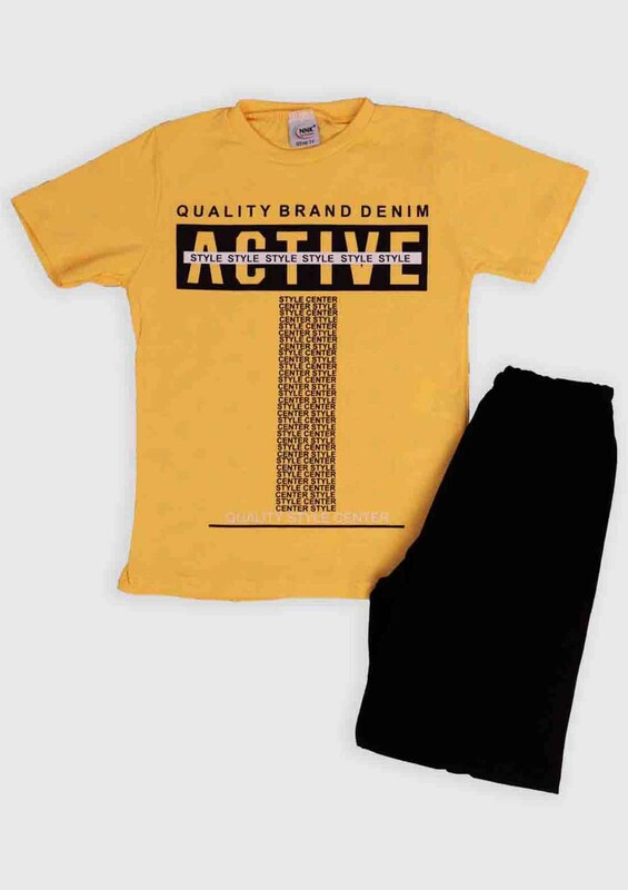 NNK - NNK Active Baskılı Erkek Çocuk 2'li Takım | Sarı