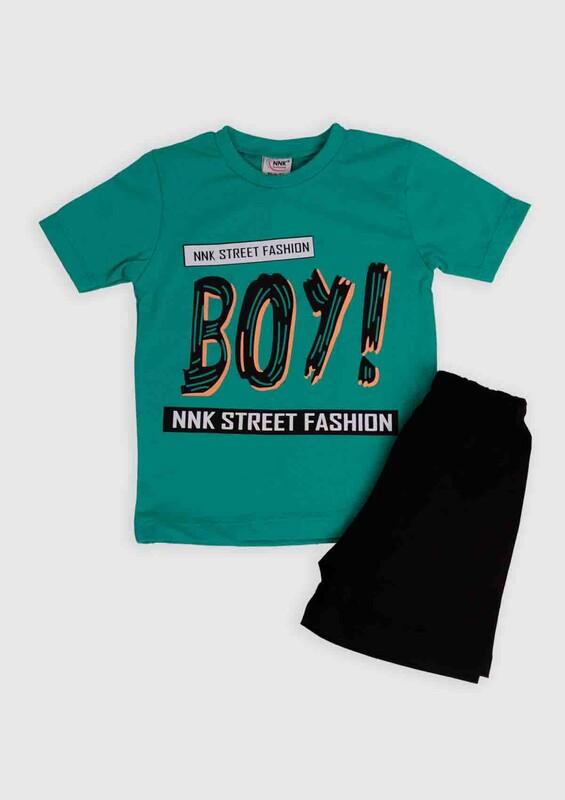 NNK - NNK Boy Baskılı Erkek Çocuk 2'li Takım | Yeşil