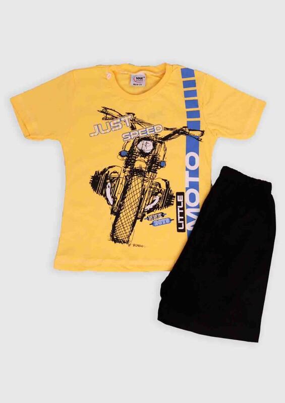NNK - NNK Just Speed Baskılı Erkek Çocuk 2'li Takım | Sarı