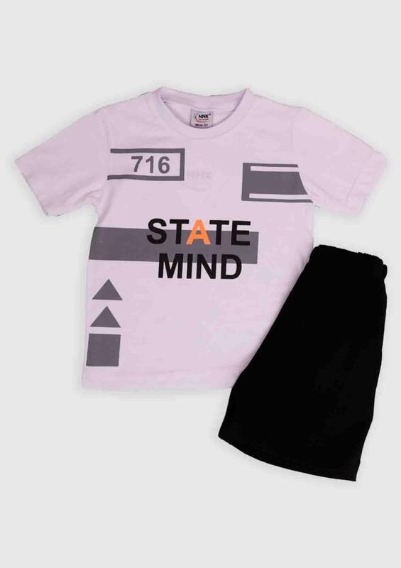 NNK - NNK State Mind Baskılı Erkek Çocuk 2'li Takım | Beyaz