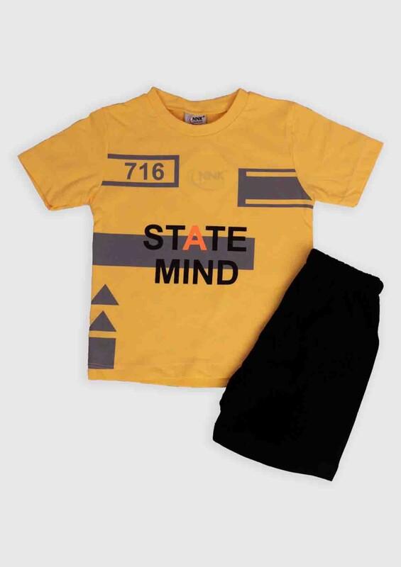 NNK - NNK State Mind Baskılı Erkek Çocuk 2'li Takım | Sarı