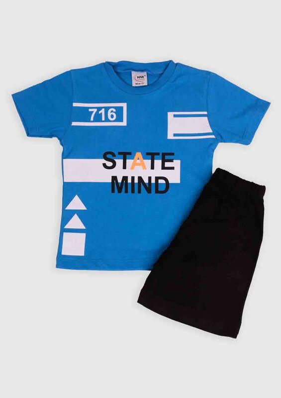 NNK - NNK State Mind Baskılı Erkek Çocuk 2'li Takım | Mavi