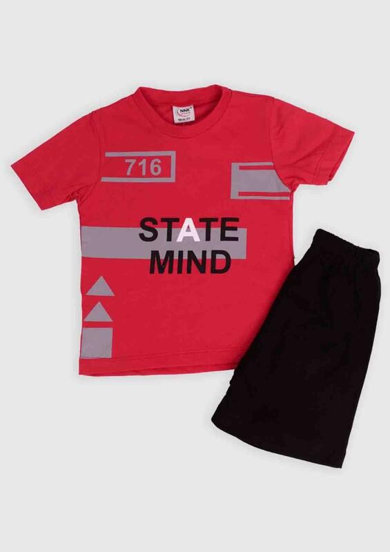 NNK - NNK State Mind Baskılı Erkek Çocuk 2'li Takım | Kırmızı