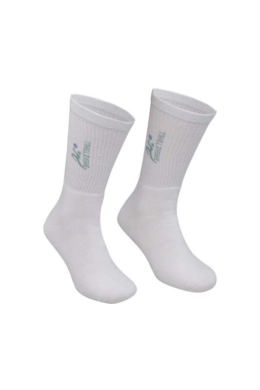 DÜNDAR - Erkek Desenli Tenis Havlu Çorap 7002   Beyaz