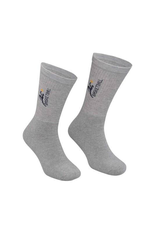 DÜNDAR - Erkek Desenli Tenis Havlu Çorap 7002   Gri