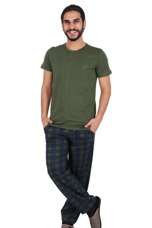AYDOĞAN - Aydoğan Kısa Kol Modal Erkek Pijama Takımı 7813 | Yeşil
