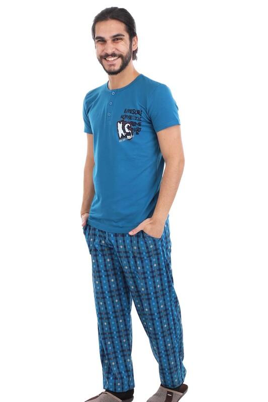 AYDOĞAN - Aydoğan Kısa Kol Modal Erkek Pijama Takımı 7749 | Petrol