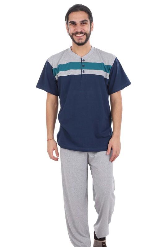 GLİSA - Glisa Düğmeli Kısa Kollu Erkek Pijama Takımı | Lacivert