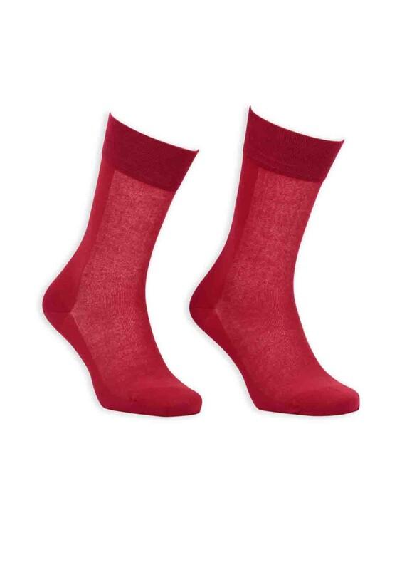 Bordo - Bordo Cotton Dikişsiz Erkek Çorap SM31007-14   Kırmızı