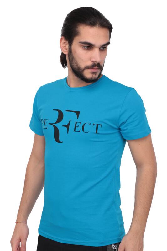 SİMİSSO - Baskılı Kısa Kollu Erkek T-shirt 005   Mavi