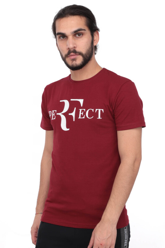 SİMİSSO - Baskılı Kısa Kollu Erkek T-shirt 005   Bordo