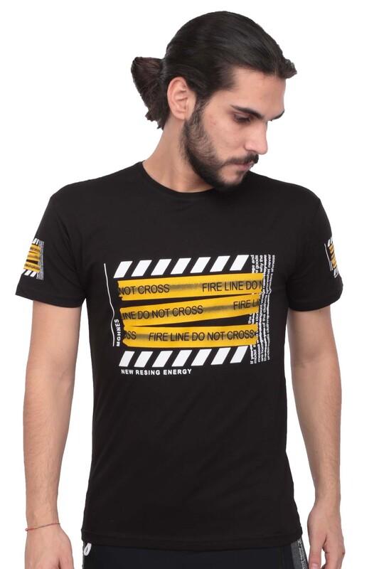 SİMİSSO - Baskılı Kısa Kollu Erkek T-shirt 003   Siyah