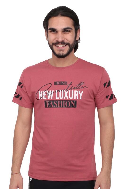 SİMİSSO - Baskılı Kısa Kollu Erkek T-shirt   Gül Kurusu
