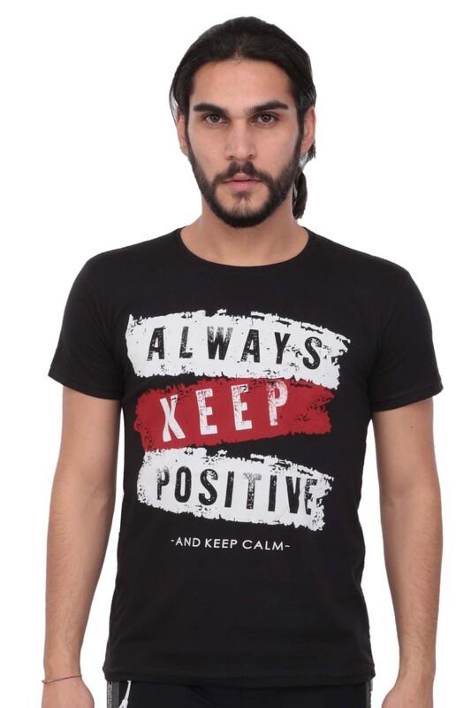 SİMİSSO - Baskılı Kısa Kollu Erkek T-shirt 004   Siyah