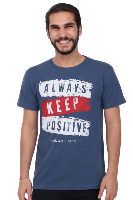 SİMİSSO - Baskılı Kısa Kollu Erkek T-shirt 004   Mavi