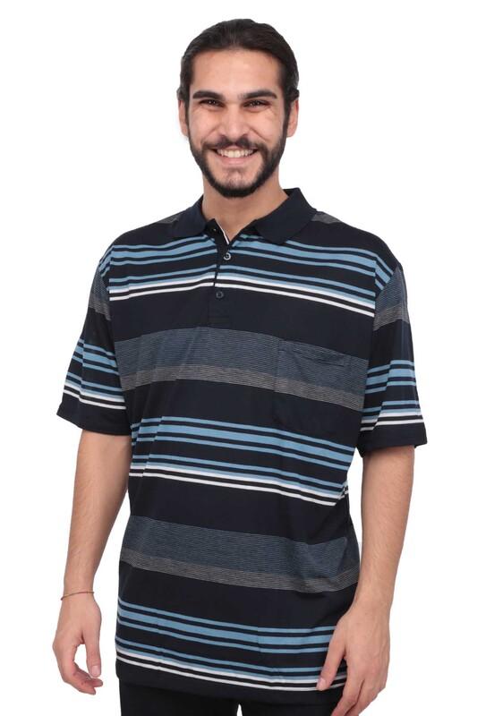 SİMİSSO - Polo Yaka Çizgili Kısa Kollu Erkek T-shirt   Lacivert