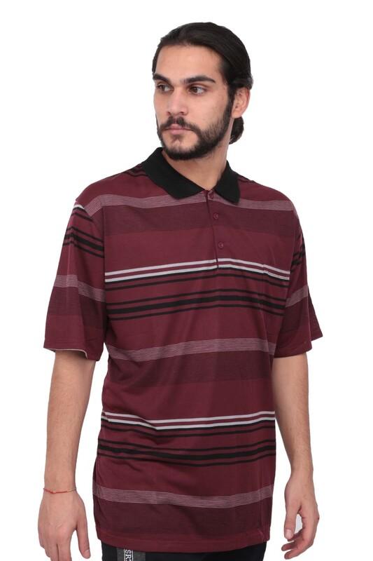 SİMİSSO - Polo Yaka Çizgili Kısa Kollu Erkek T-shirt   Bordo