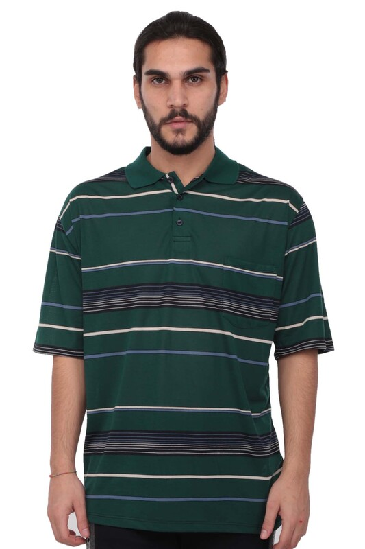 SİMİSSO - Polo Yaka Çizgili Kısa Kollu Erkek T-shirt   Yeşil