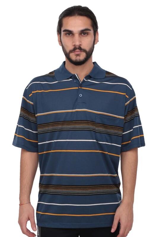 SİMİSSO - Polo Yaka Çizgili Kısa Kollu Erkek T-shirt   Mavi