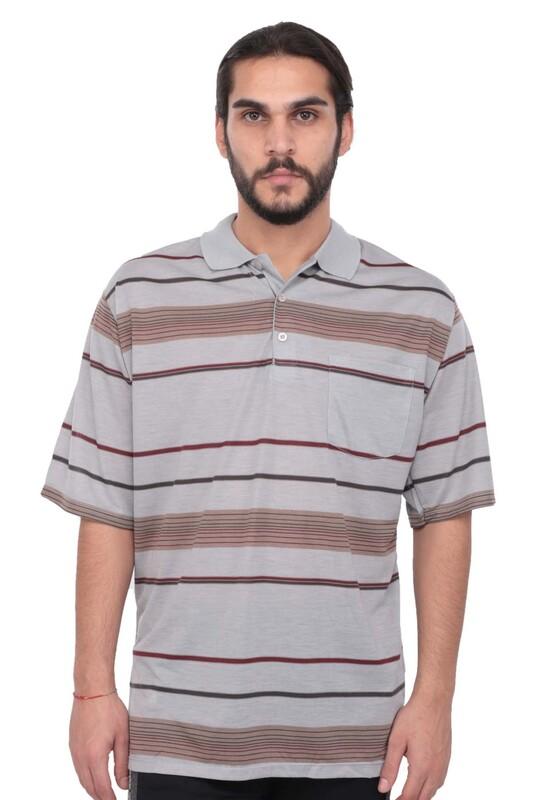SİMİSSO - Polo Yaka Çizgili Kısa Kollu Erkek T-shirt   Gri
