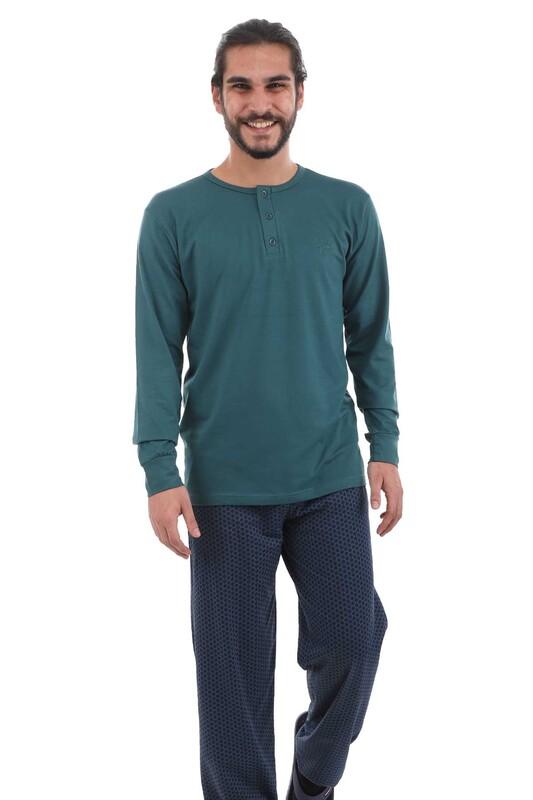 AYDOĞAN - Aydoğan Uzun Kol Modal Erkek Pijama Takımı 3931 | Yeşil