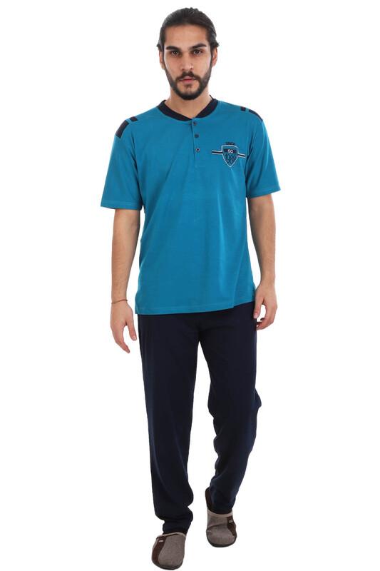 SUDE - Sude Önü Düğmeli Erkek Pijama Takımı 060 | Petrol