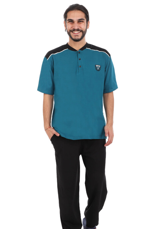 SUDE - Sude Önü Düğmeli Erkek Pijama Takımı 0106 | Petrol