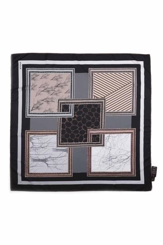 Etholle - Etholle Dijital Baskılı Reyon Eşarp 90 cm | Siyah